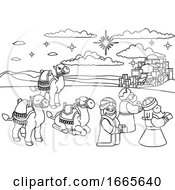 Wise Men Christmas Nativity Scene Cartoon