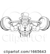 Leprechaun Mascot Weightlifter Lifting Big Barbell