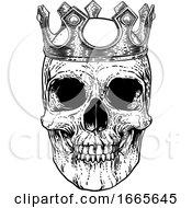 Poster, Art Print Of Skull Human Skeleton King Wearing Royal Crown
