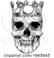 Skull Human Skeleton King Wearing Royal Crown