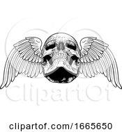 Poster, Art Print Of Winged Skull Vintage Woodcut Illustration