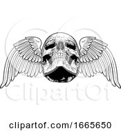 Winged Skull Vintage Woodcut Illustration