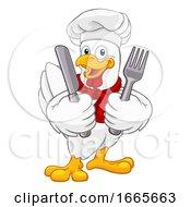 Chicken Chef Rooster Cockerel Knife Fork Cartoon