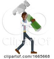 08/30/2019 - Black Doctor Man Holding Hammer Mascot Concept