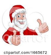 Young Santa Peeking Over Sign Christmas Cartoon