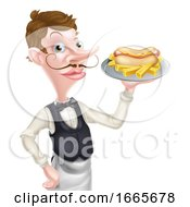 08/30/2019 - Cartoon Waiter Butler Holding Hotdog And Fries