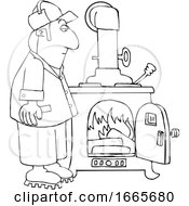 Cartoon Lineart Man Watching A Fire Burn In A Wood Stove