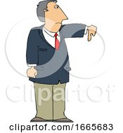 Business Man Holding A Thumb Down