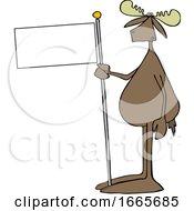Cartoon Moose Holding A Blank Flag