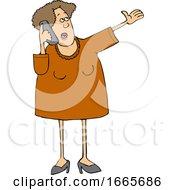 Cartoon Talkative Woman Yaking Away On A Cell Phone