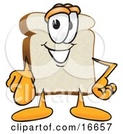 Clipart Picture Of A Slice Of White Bread Food Mascot Cartoon Character Pointing Outwards At The Viewer