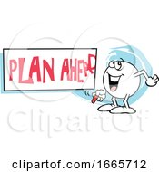 Moodie Character With A Plan Ahead Sign