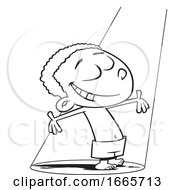 Cartoon Black And White Happy Boy Standing In A Beam Of Light