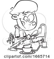 Cartoon Black And White Boy Washing Dishes