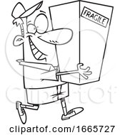 Cartoon Black And White Delivery Man Carrying A Package