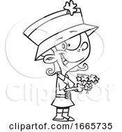 Cartoon Black And White St Patricks Day Leprechaun Girl Holding Shamrocks