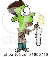 Cartoon Boy Holding A Stinky Sock