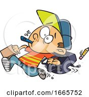 Cartoon School Boy Running Late