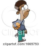 Poster, Art Print Of Cartoon Boy Carrying A Basketball