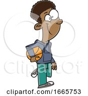 Cartoon Boy Carrying A Basketball by toonaday
