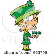 Cartoon St Patricks Day Leprechaun Girl Holding Shamrocks