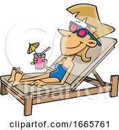 Cartoon Woman Sun Bathing Poolside With A Cocktail