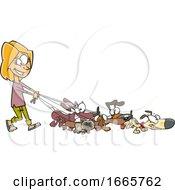 Cartoon Female Dog Walker