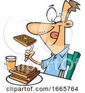 Cartoon Happy Man Eating Waffles For Breakfast