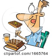 Cartoon Happy Man Eating Waffles For Breakfast