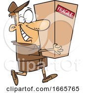 Cartoon Delivery Man Carrying A Package