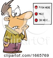 Cartoon Man Looking At A List Of Buttons
