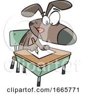 Cartoon Dog Sitting At A Desk In Obedience School by toonaday