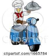 Eagle Chef Scooter Delivery Mascot