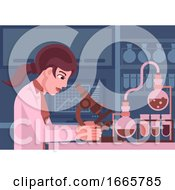 Woman Scientist Working In Laboratory by AtStockIllustration