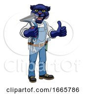 Panther Car Or Window Cleaner Holding Squeegee by AtStockIllustration