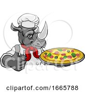 Rhino Pizza Chef Cartoon Restaurant Mascot Sign by AtStockIllustration