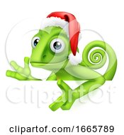 Chameleon Christmas Santa Hat Pointing At Sign by AtStockIllustration