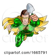 Super Gardener Superhero Holding Garden Spade