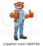 08/31/2019 - Tiger Construction Cartoon Mascot Handyman