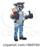 Poster, Art Print Of Wolf Painter Decorator Holding Paintbrush