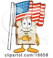 Slice Of White Bread Food Mascot Cartoon Character Pledging Allegiance To The American Flag