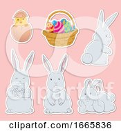 Poster, Art Print Of Bunny Rabbits And Easter Basket