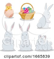 Bunny Rabbits And Easter Basket
