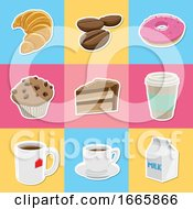 Poster, Art Print Of Coffee And Dessert Icons