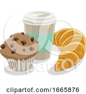 Take Out Coffee Cup Croissant And Muffin
