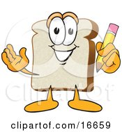 Slice Of White Bread Food Mascot Cartoon Character Holding A Yellow Pencil With An Eraser