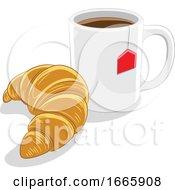 Poster, Art Print Of Coffee Mug And Croissant