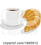 Coffee Cup And Croissant by cidepix