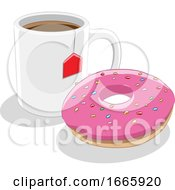 Poster, Art Print Of Donut And Tea
