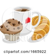 Poster, Art Print Of Coffee Mug Croissant And Muffin